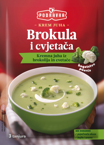 Cream of broccoli and cauliflower soup