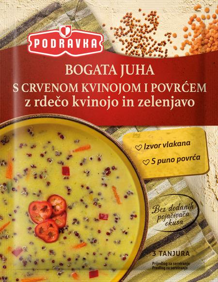 Bogata juha z rdečo kvinojo in zelenjavo