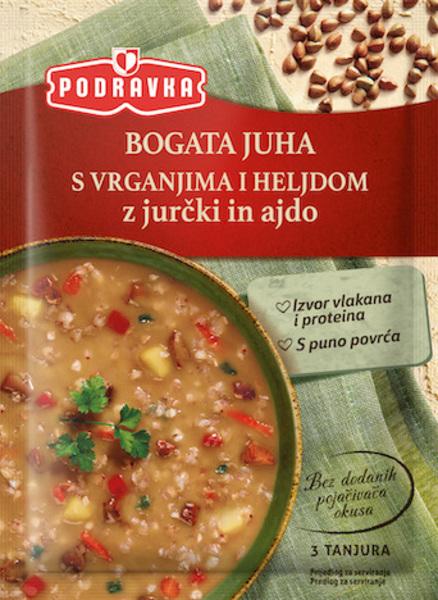 Bogata juha z jurčki in ajdo