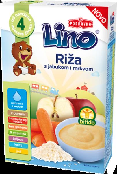 Lino riž z jabolkom in korenčkom