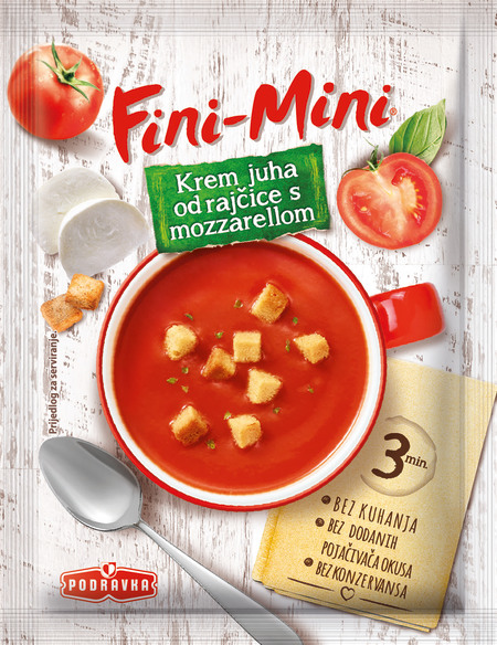 Fini-Mini krem juha od rajčice s mozzarellom