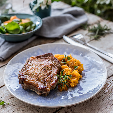 Pork chops with pumpkin puree