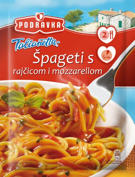 Spaghetti with tomato and mozzarella
